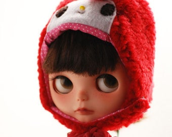 Blythe animal hat with fur chin strap - My Melody (red)