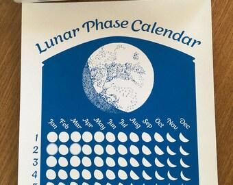 Sky 2018 Lunar Phase Calendar in Sky Blue