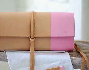 Leather clutch pink MINI INDIAN SUMMER