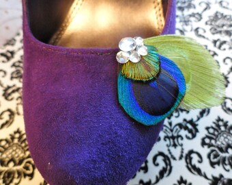 DUCHESS Lime and Natural Peacock Feather Shoe Clips, Rhinestone Shoe Clips