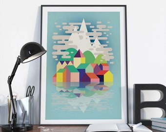 Art print  - Mountains  - Alpine village - A4, A3, A2 size - home decor -office decor - wall decor