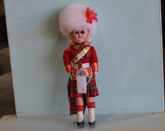 """Vintage 8 1/2"""" Scottish Plastic Doll in Kilt with Busby Hat 1960-70s-Scottish Guard?"""