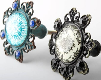 Chic Blue Black Knobs Glass Knobs European Drawer Knobs Pull Handle Dresser Knobs American Furniture Hardware