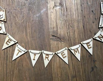 Retirement Bunting, Party Bunting, Personalised Bunting, Name Bunting, Personalised Garland, Name Garland, Letters Garland, Letters Bunting
