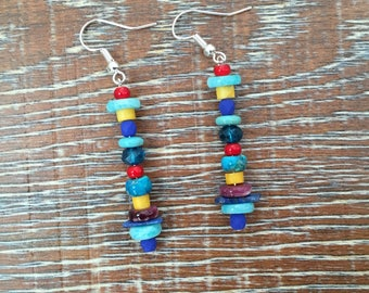 Colorful, multi stone, drop  earrings