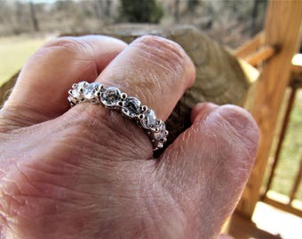 Bridal 925 Sterling Eternity Wedding Band 4mm each Stoned ring