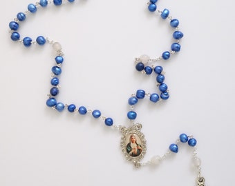 Rosary - Blue Freshwater Pearl
