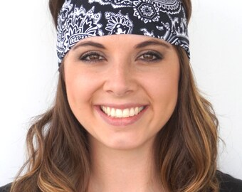 Black and White Paisley | Fitness headband | Yoga headband | Fashion headband | Workout headband | Nonslip headband | Buy Any 4, Get 1 FREE!
