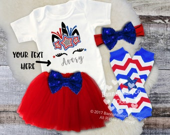 Baby Girls Unicorn Shirt | Personalized Unicorn | Baby Girl 4th Of July Outfit (Opt Set) | Red White Blue Unicorn | Fourth of July Baby Girl