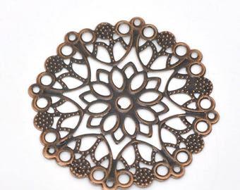 1 connector flower copper metal 50mm round