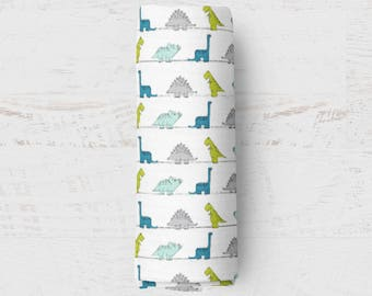 Organic Swaddle Blanket Teal Aqua Dino. Dinosaur Organic Blanket. Baby Swaddle. Newborn Swaddle. Gauze Blanket. Dino Blanket.