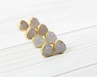 Druzy Stud Earrings, Druzy Earrings, Druzy Studs, Gold Earrings, Stone Earrings, Dainty Earrings, Small Earrings, Womens Gift, Triangle,Post