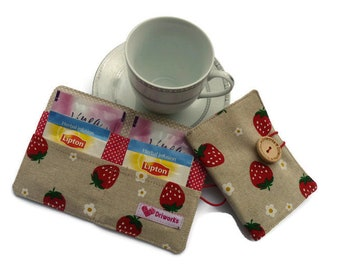 Tea bag Wallet, Tea bag case, Tea bag holder, Tea Carrier, Travel tea bag holder, Linen Tea Wallet - strawberry fabric, Tea party favor