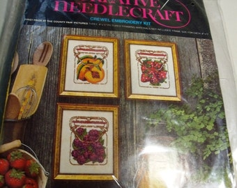 Vintage Avon Crewel Kit First Prize at the County Fair - 3 pictures of jams new unopened
