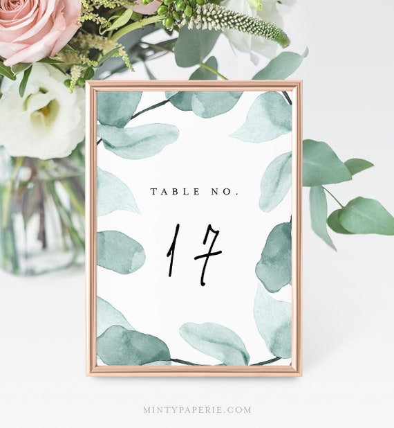 Greenery Table Number Template, Printable Wedding Table Card, INSTANT DOWNLOAD, 100% Editable, Templett, Eucalyptus, 4x6 & 5x7 #049-127TC