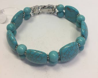 Bracelet Turquoise Howlite 2 Strand Crystals Magnetic Clasp