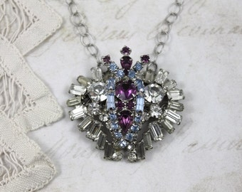 Vintage Assemblage Collage Necklace, Purple and Blue Rhinestone Pendant Necklace, Rhinestone Heart Necklace, by Boutique Bijou