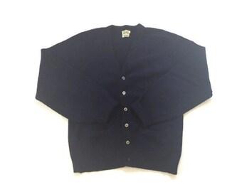 Vintage Navy Wool Cardigan