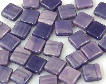 Satiny Purple Square Tile Czech Glass Beads 10mm - 15