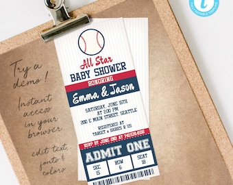 Baseball Baby Shower Invitation Boy, All Star Ticket Baby Shower Invite Template, INSTANT DOWNLOAD editable & printable at home