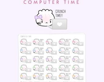 """Laptop Stickers - """"Computer Time"""" [Computer Stickers, Design Stickers, Shopowner Stickers, Work Stickers, Laptop Stickers] - S280"""