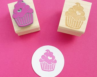 Cupcake Rubber Stamp - Iced Cupcake with a Heart Rubber Stamper - Gift for Baker - Present for Foodie - Baking Supplies - Scrapbooking