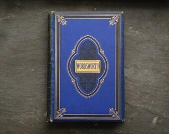 Antique poetry book, William Wordsworth poetical works, vintage 1880s book of verse, British edition.