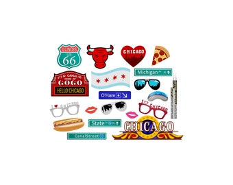 Chicago digital photo booth party props instan download