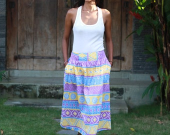 Tribal Skirt in Neon Shade Colors, Yellow, Purple and Blue, Tribal Mid Calf Skirt with Pockets, OOAK