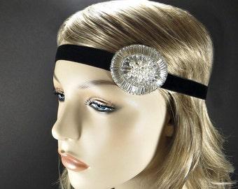Great Gatsby Headpiece, Silver 1920s Headband, Flapper Headpiece, Art Deco Hair Piece, Roaring 20s Dress Headpiece, Downton Abbey Headpiece