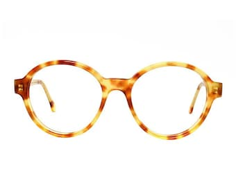 oversized round glasses frames - vintage tortoise eyeglasses - light brown transparent vintage glasses - panto eyeglass style - Bowie Pastel