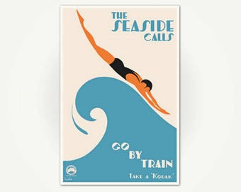 The Seaside Calls Vintage Travel Poster Print - Art Deco Ocean Wave Beach Poster Art