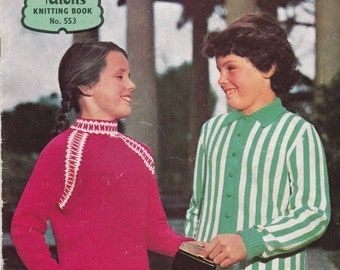 ON SALE Paton's Knitting Pattern No 553  for Girls aged 5  to 16 years  - Vintage 1950s