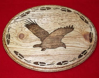 Native American Burned Wooden Wall Hanging ( Hawk & Feathers )