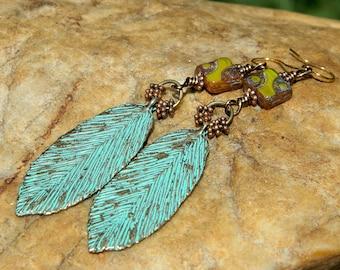 Patina Leaf and Czech Bead Boho Earrings