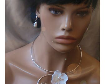 White Orchid wedding necklace