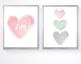 Pink and Mint and Gray Nursery Art, Set of 2 - 8x10 Watercolor Prints, Pink, Mint and Gray Nursery Decor, Pastel Nursery, Watercolor Nursery