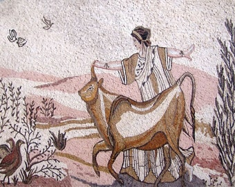 Woman Playing In Nature Marble Mosaic Mural