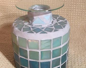 Mosaic Ombré Green Candle Holder