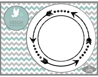 Arrow Monogram Frame Arrow Frame Circle LL075 E - SVG - ai, eps, svg, dxf (for Silhouette users), jpg, png
