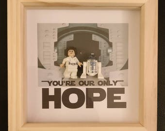Lego inspired Star Wars Leia and R2D2 Only Hope minifigure framed art