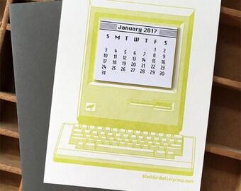 letterpress vintage computer mini calendar 2018