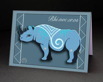 "Rhino 4.25"" x 6"" Blank Greeting Card"