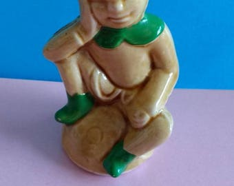 Vintage pottery Pixie shaped Mead bottle.