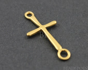 24K Gold Vermeil Over Sterling Silver  Cross Component, Rings both Ends, Great Sideways Cross Finding, 1 PIECE (VM/CH1/CR24)