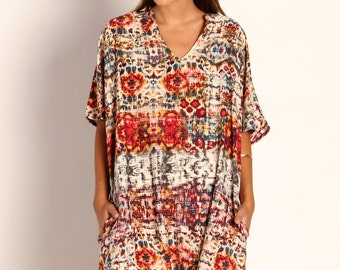 Oversized boho chic ,red ethnic print galabiya, resort style