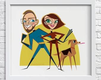 Custom Digital Trio Caricature Portrait - three person caricature from photo, custom cartoon illustration, digital portrait of three people