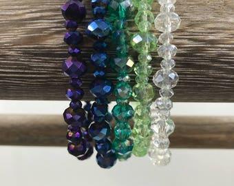 Ombre Glass Stackable Bracelet Set