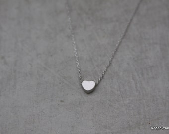 Tiny Heart Silver Necklace - Silver Heart Necklace - Tiny Heart Necklace