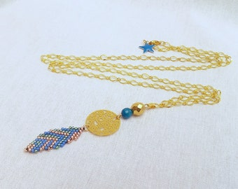 Long necklace feather Miyuki, filigree and gemstones